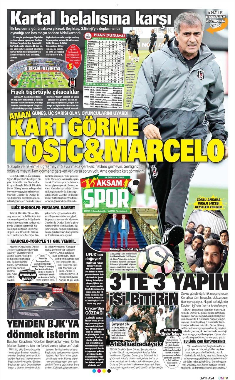 28 Ekim 2016 | Gazetelerin Beşiktaş sayfaları 1