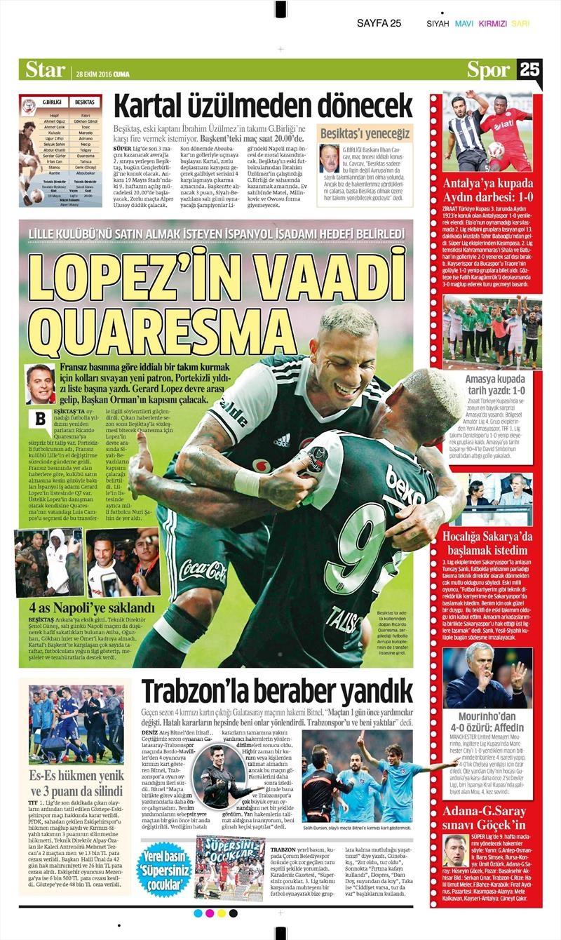 28 Ekim 2016 | Gazetelerin Beşiktaş sayfaları 10