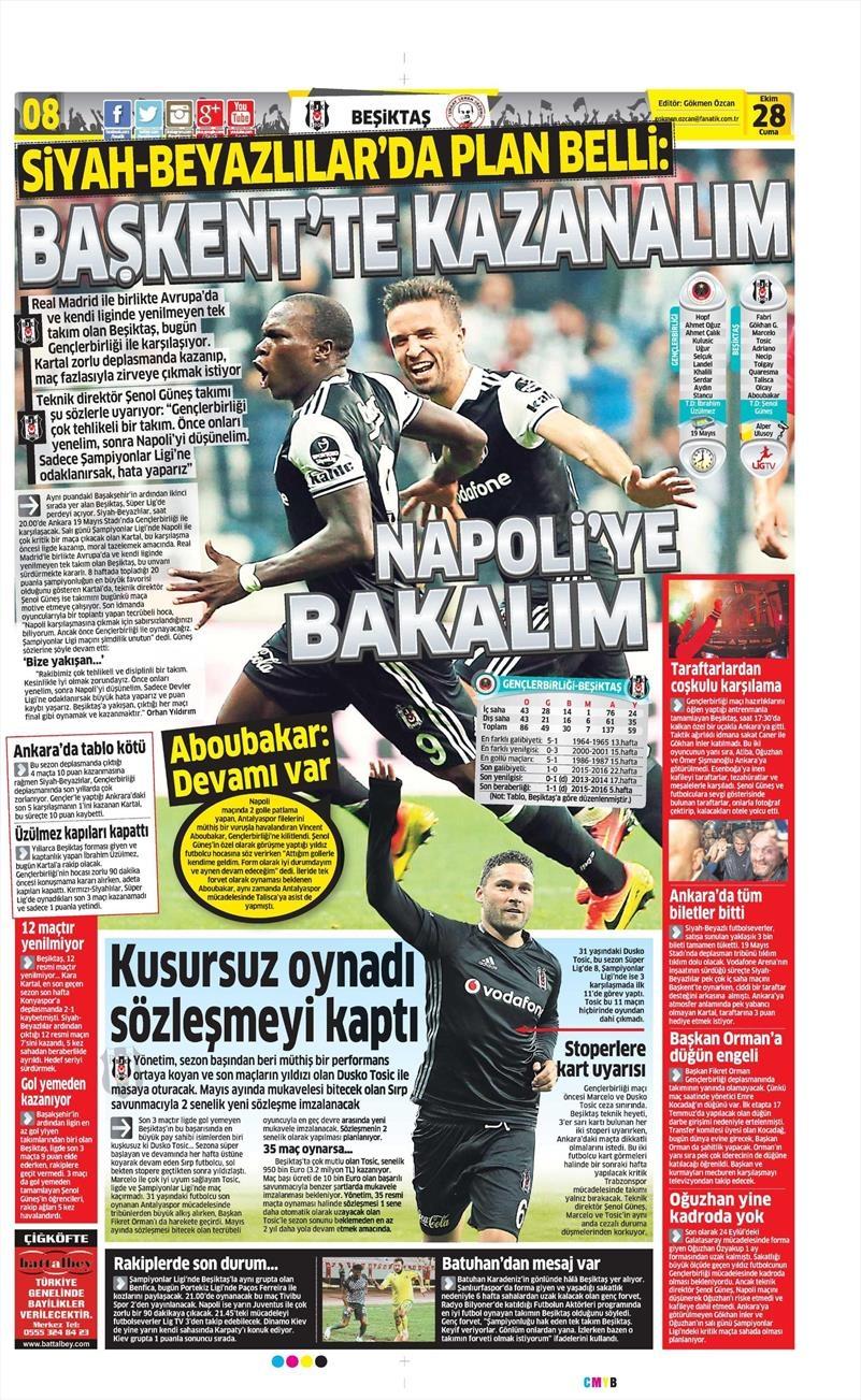 28 Ekim 2016 | Gazetelerin Beşiktaş sayfaları 2