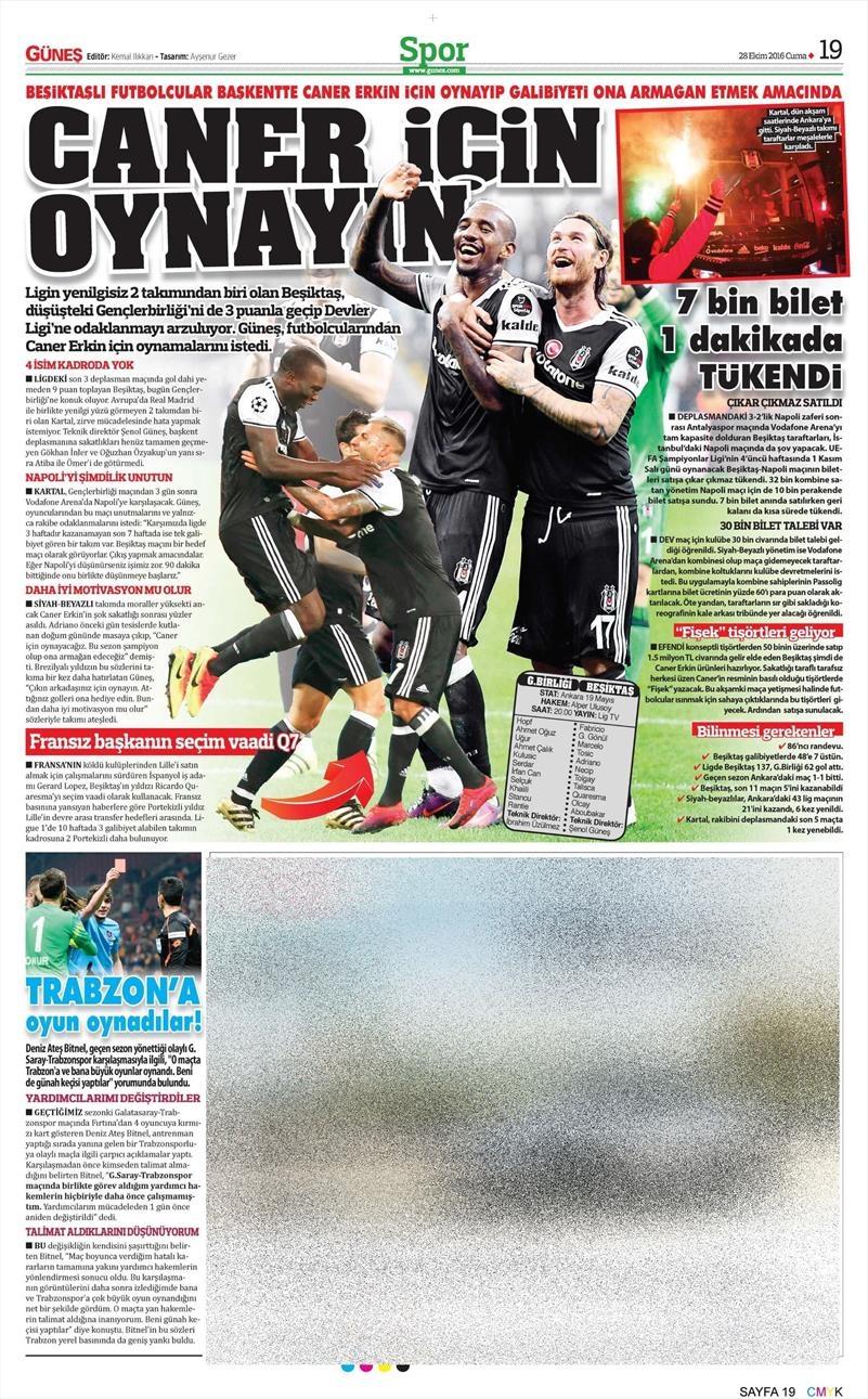 28 Ekim 2016   Gazetelerin Beşiktaş sayfaları 4