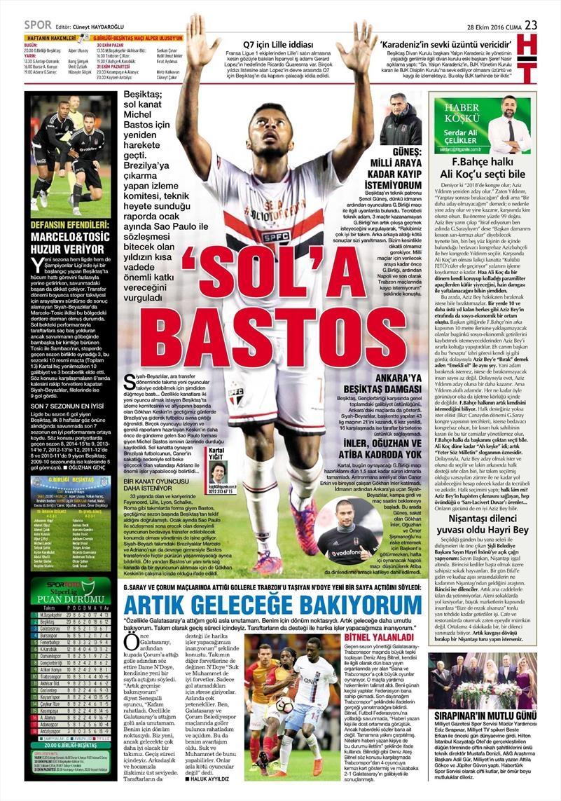 28 Ekim 2016 | Gazetelerin Beşiktaş sayfaları 5