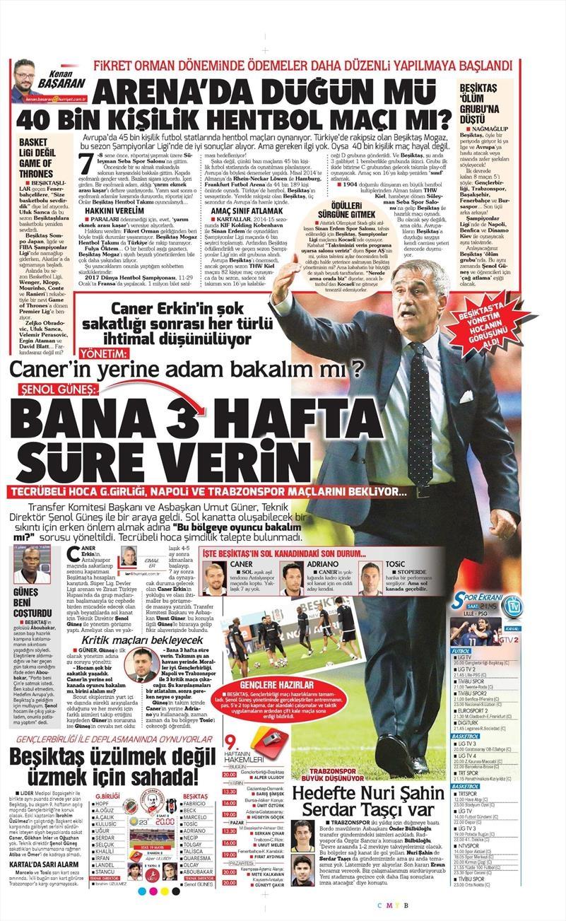28 Ekim 2016 | Gazetelerin Beşiktaş sayfaları 6