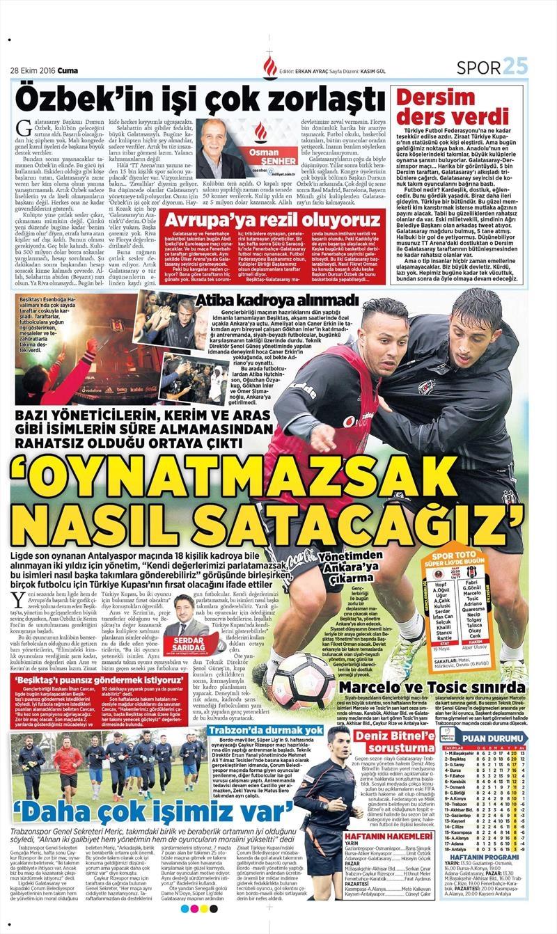 28 Ekim 2016 | Gazetelerin Beşiktaş sayfaları 7