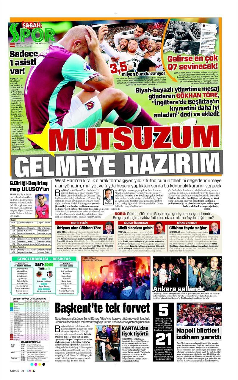 28 Ekim 2016   Gazetelerin Beşiktaş sayfaları 9