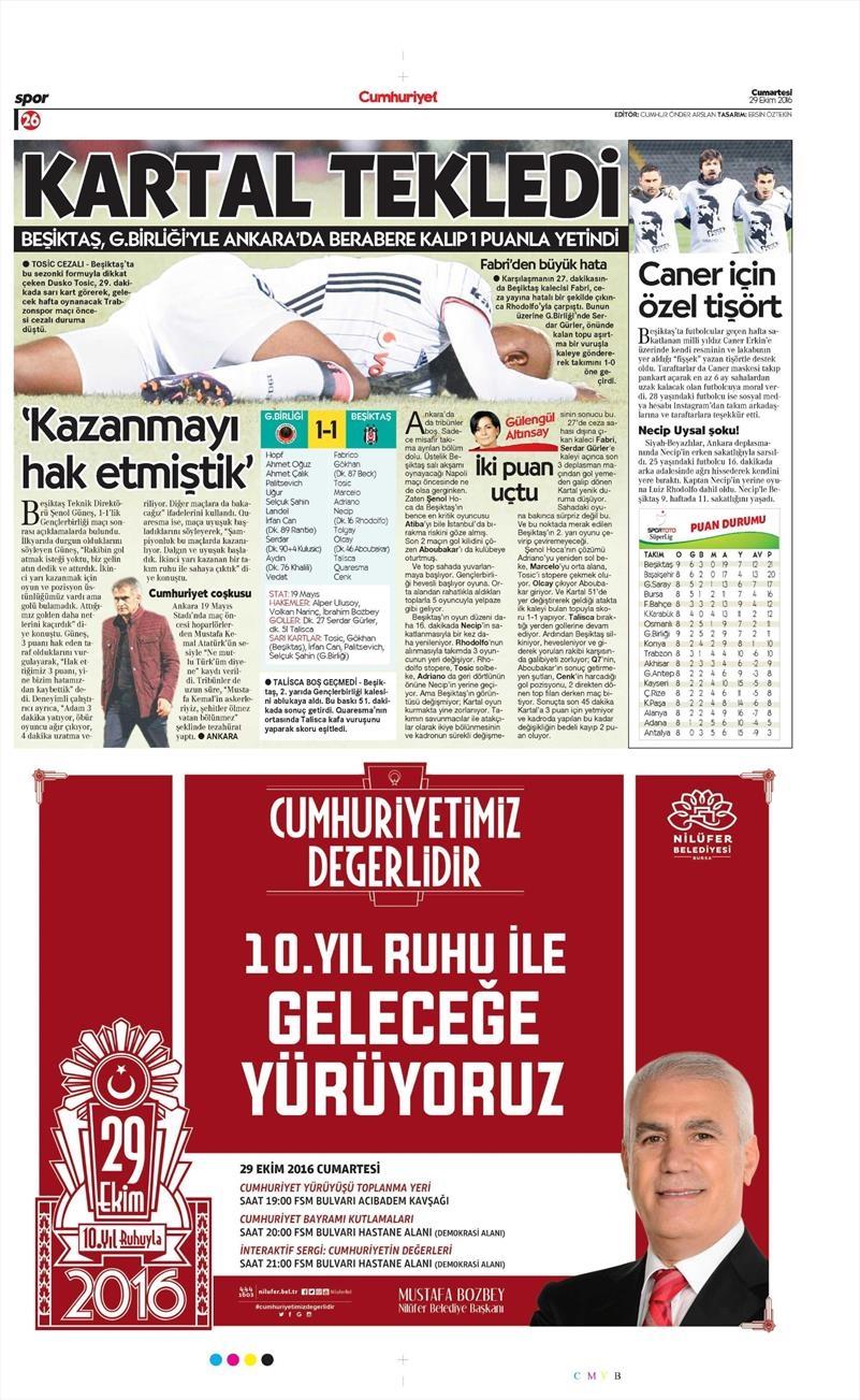 29 Ekim 2016 | Gazetelerin Beşiktaş manşetleri 1