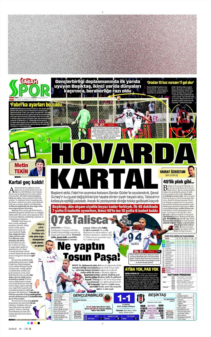 29 Ekim 2016 | Gazetelerin Beşiktaş manşetleri 10