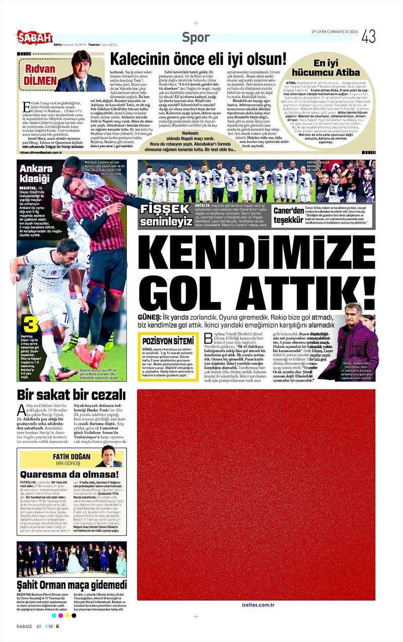 29 Ekim 2016 | Gazetelerin Beşiktaş manşetleri 11