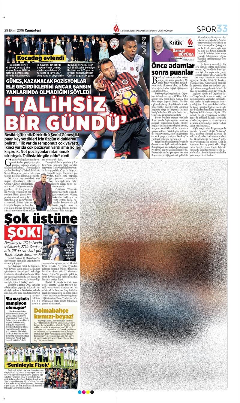 29 Ekim 2016 | Gazetelerin Beşiktaş manşetleri 13