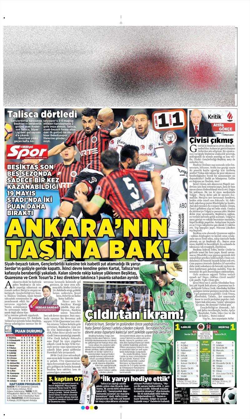 29 Ekim 2016 | Gazetelerin Beşiktaş manşetleri 14