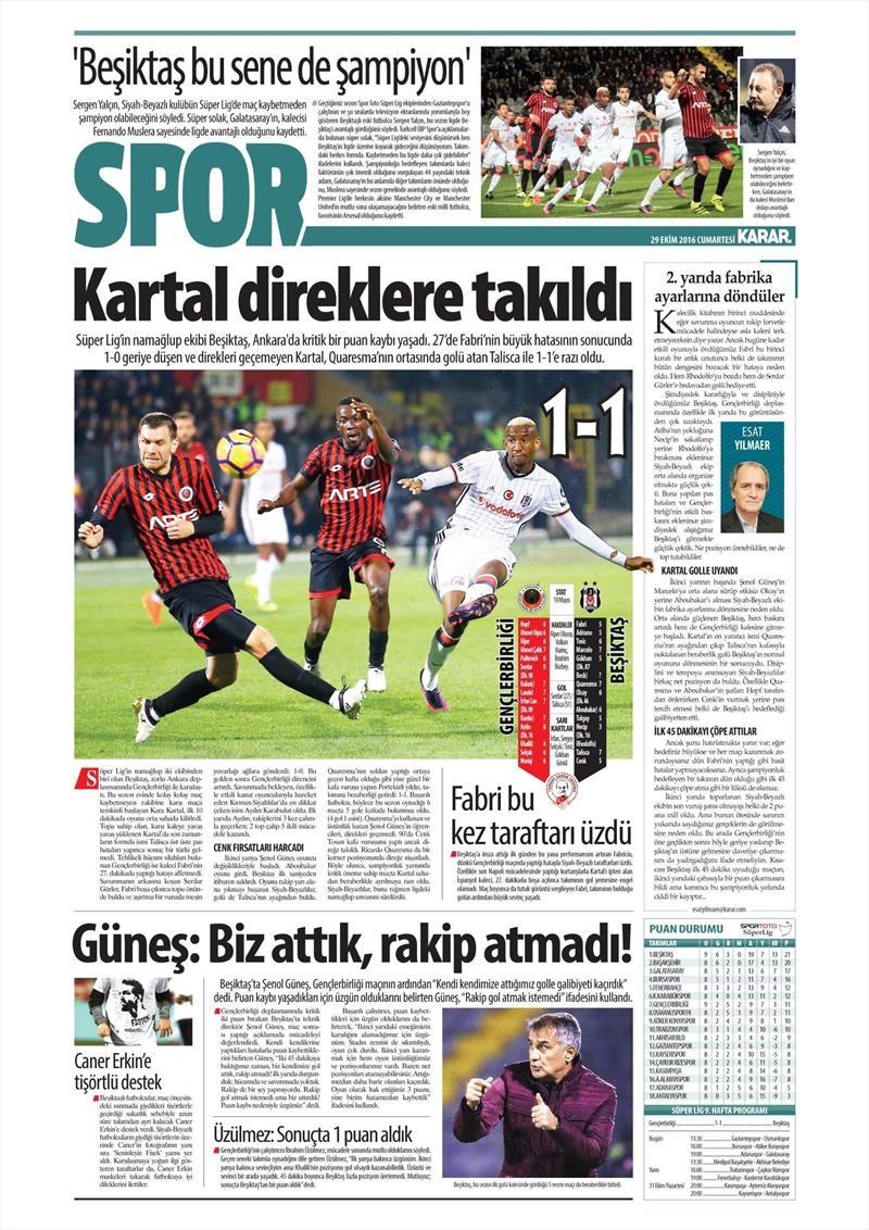 29 Ekim 2016 | Gazetelerin Beşiktaş manşetleri 15