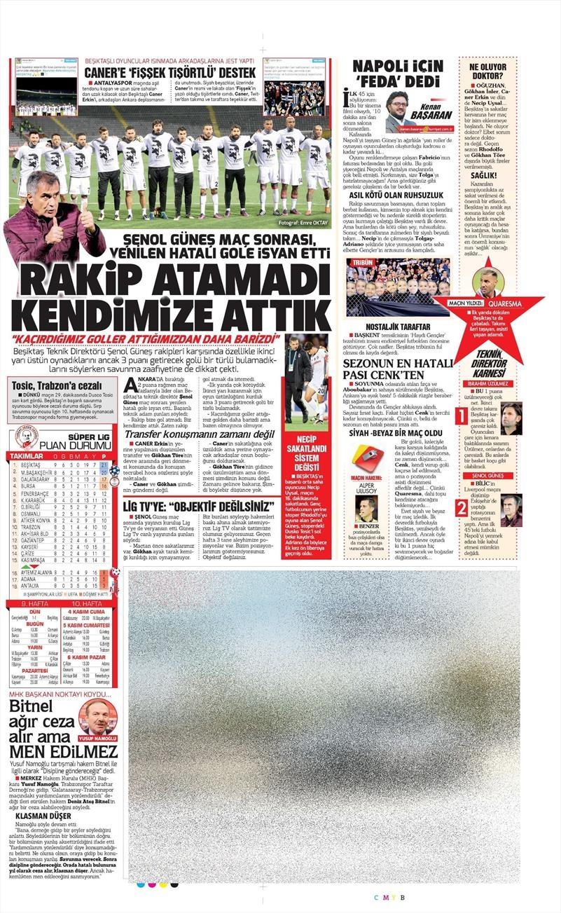 29 Ekim 2016 | Gazetelerin Beşiktaş manşetleri 16