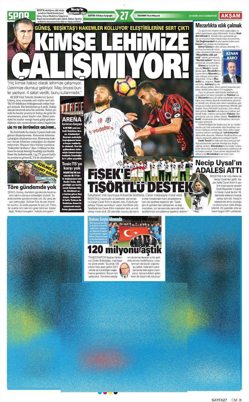 29 Ekim 2016 | Gazetelerin Beşiktaş manşetleri 19