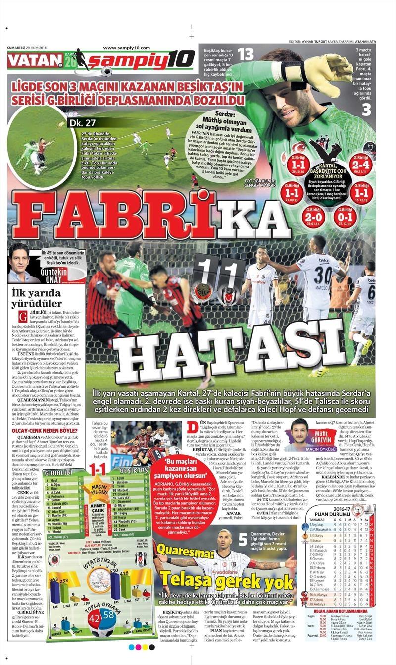 29 Ekim 2016 | Gazetelerin Beşiktaş manşetleri 2
