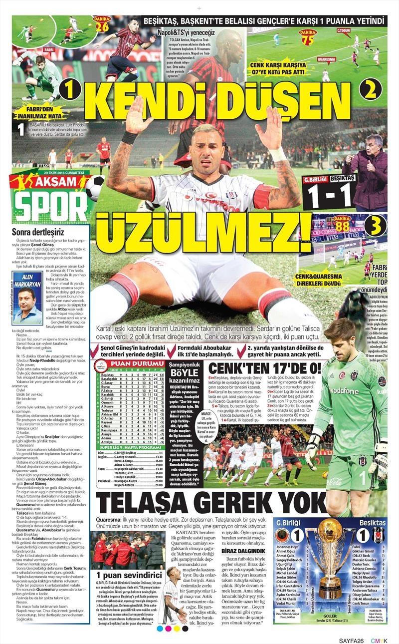 29 Ekim 2016 | Gazetelerin Beşiktaş manşetleri 20