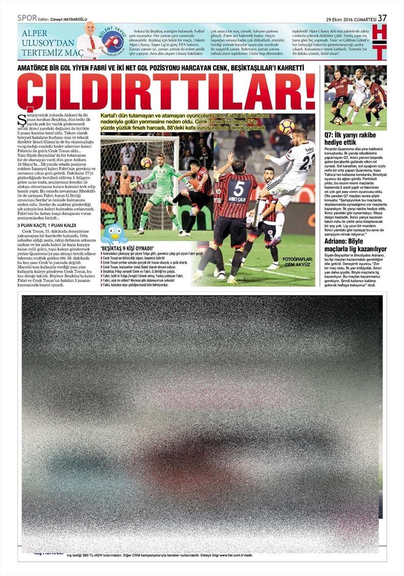 29 Ekim 2016   Gazetelerin Beşiktaş manşetleri 21