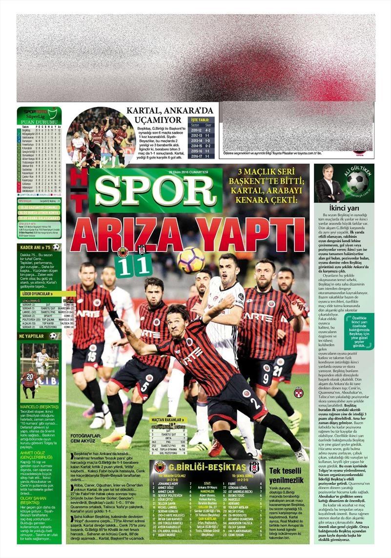 29 Ekim 2016 | Gazetelerin Beşiktaş manşetleri 22