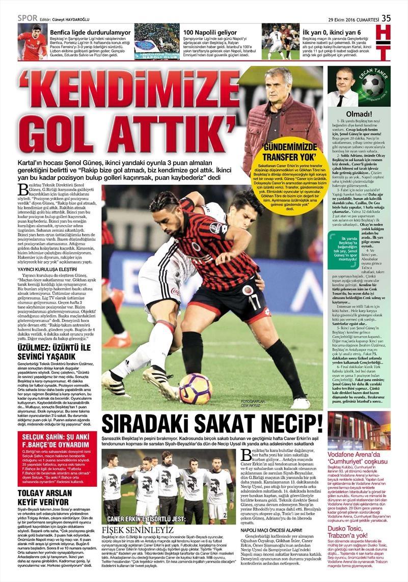 29 Ekim 2016 | Gazetelerin Beşiktaş manşetleri 23