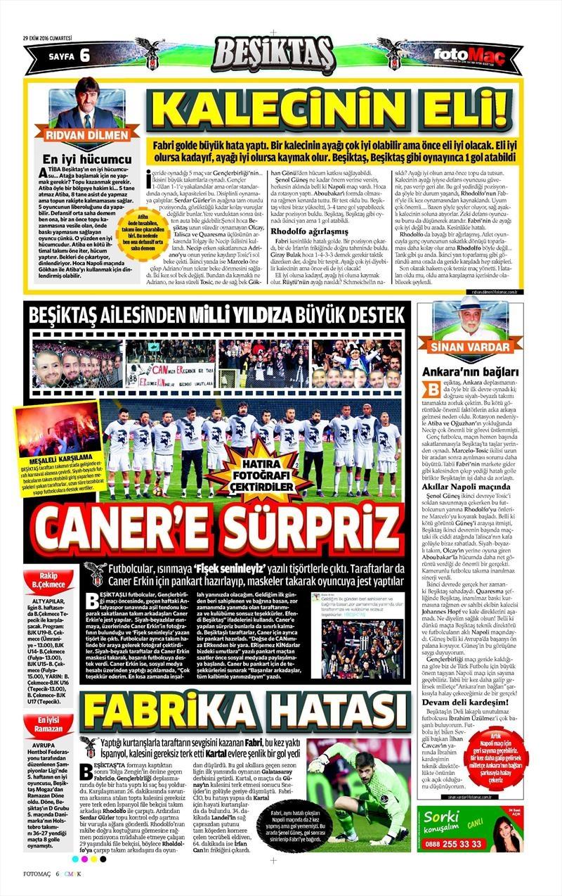29 Ekim 2016 | Gazetelerin Beşiktaş manşetleri 24