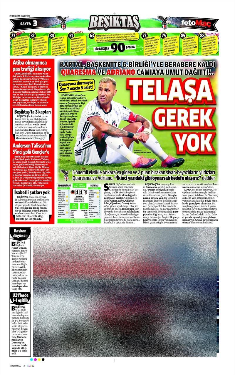 29 Ekim 2016   Gazetelerin Beşiktaş manşetleri 25