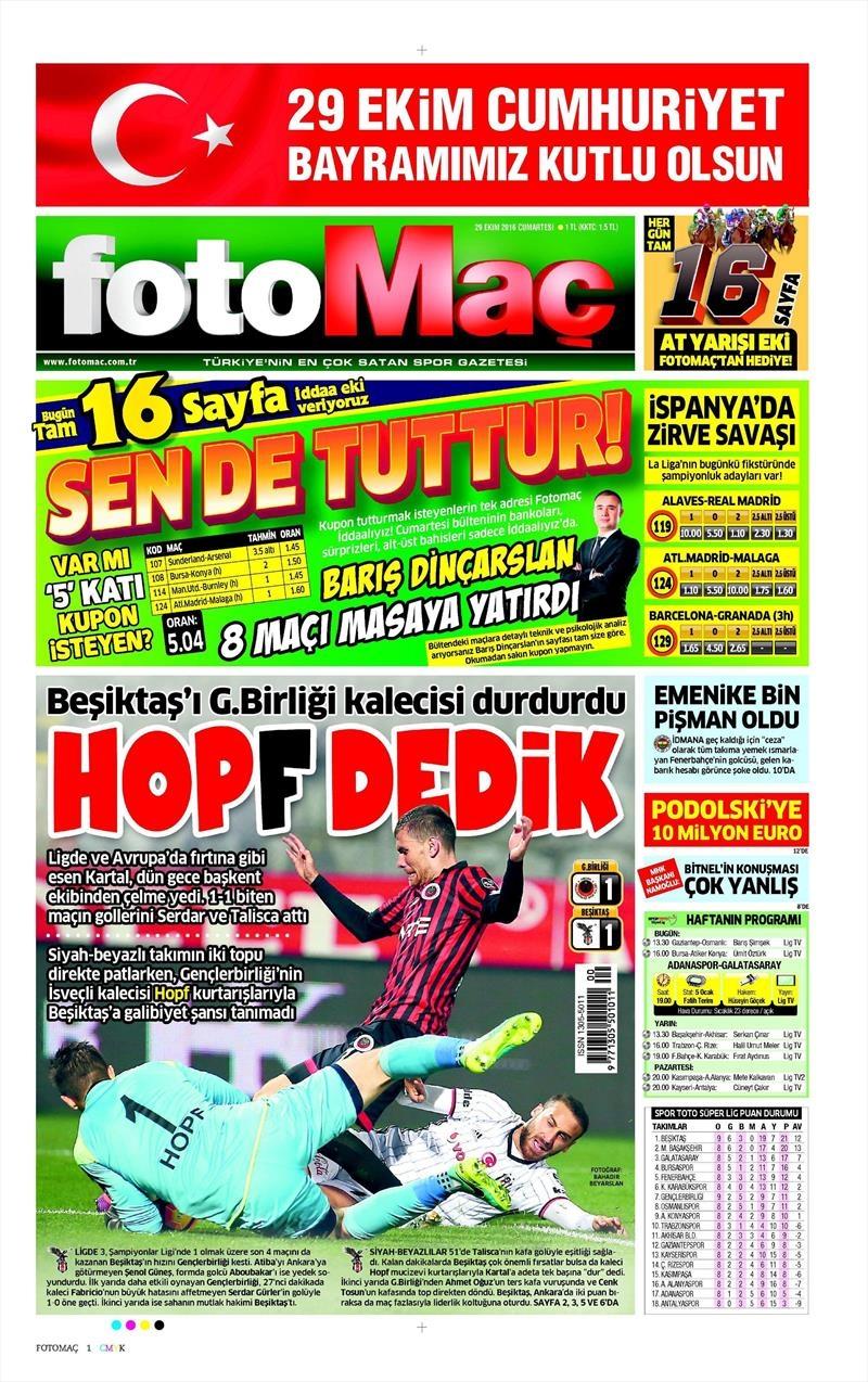 29 Ekim 2016 | Gazetelerin Beşiktaş manşetleri 27