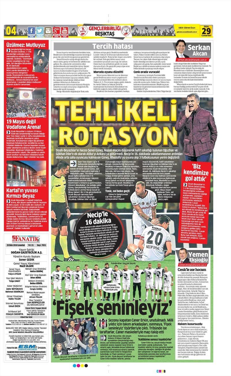 29 Ekim 2016   Gazetelerin Beşiktaş manşetleri 28