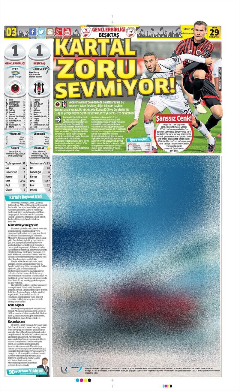 29 Ekim 2016   Gazetelerin Beşiktaş manşetleri 29