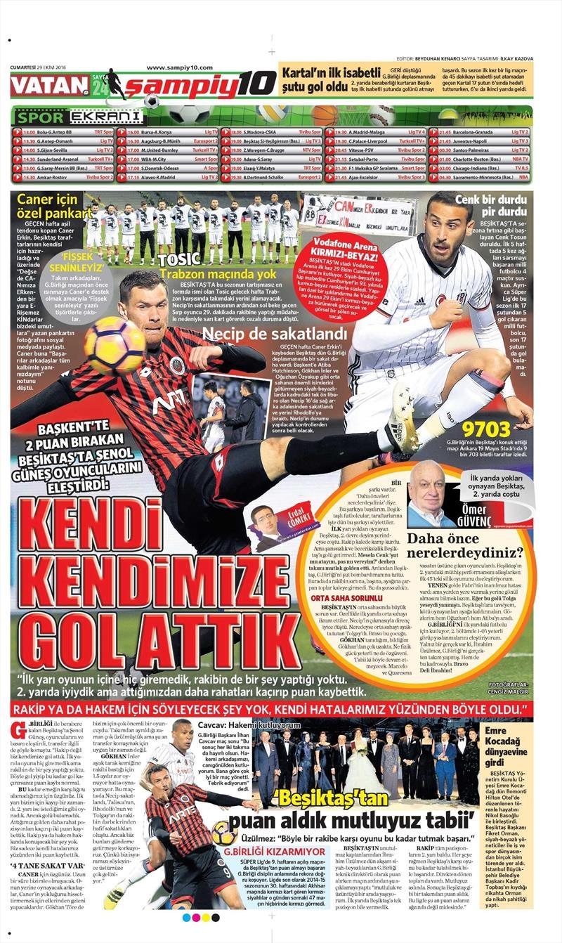 29 Ekim 2016 | Gazetelerin Beşiktaş manşetleri 3