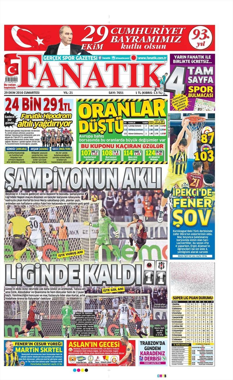 29 Ekim 2016   Gazetelerin Beşiktaş manşetleri 31