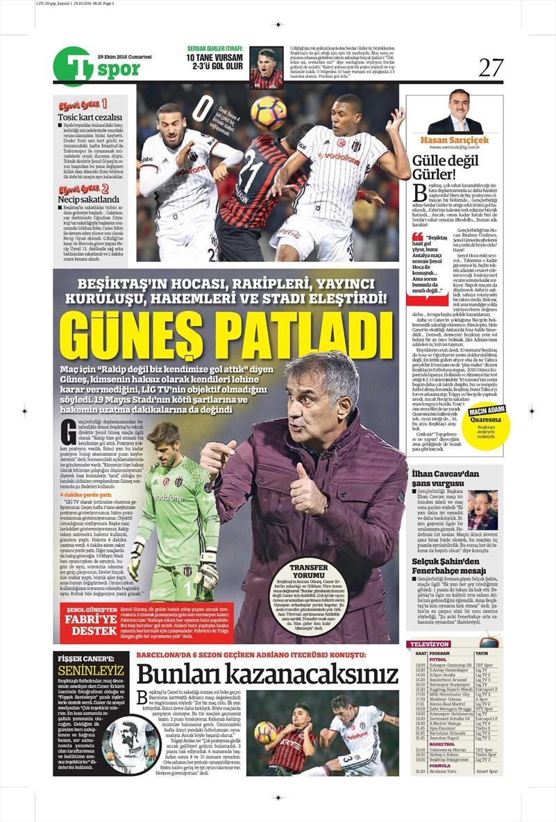 29 Ekim 2016 | Gazetelerin Beşiktaş manşetleri 4