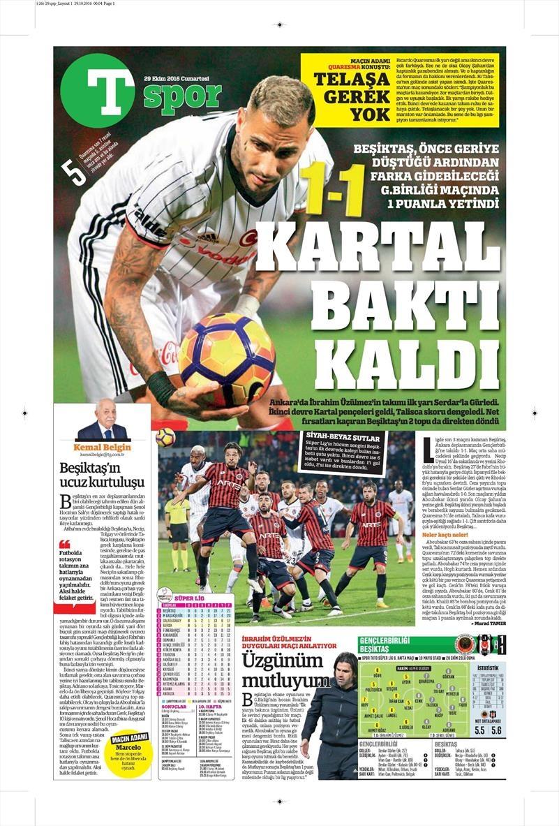 29 Ekim 2016 | Gazetelerin Beşiktaş manşetleri 5