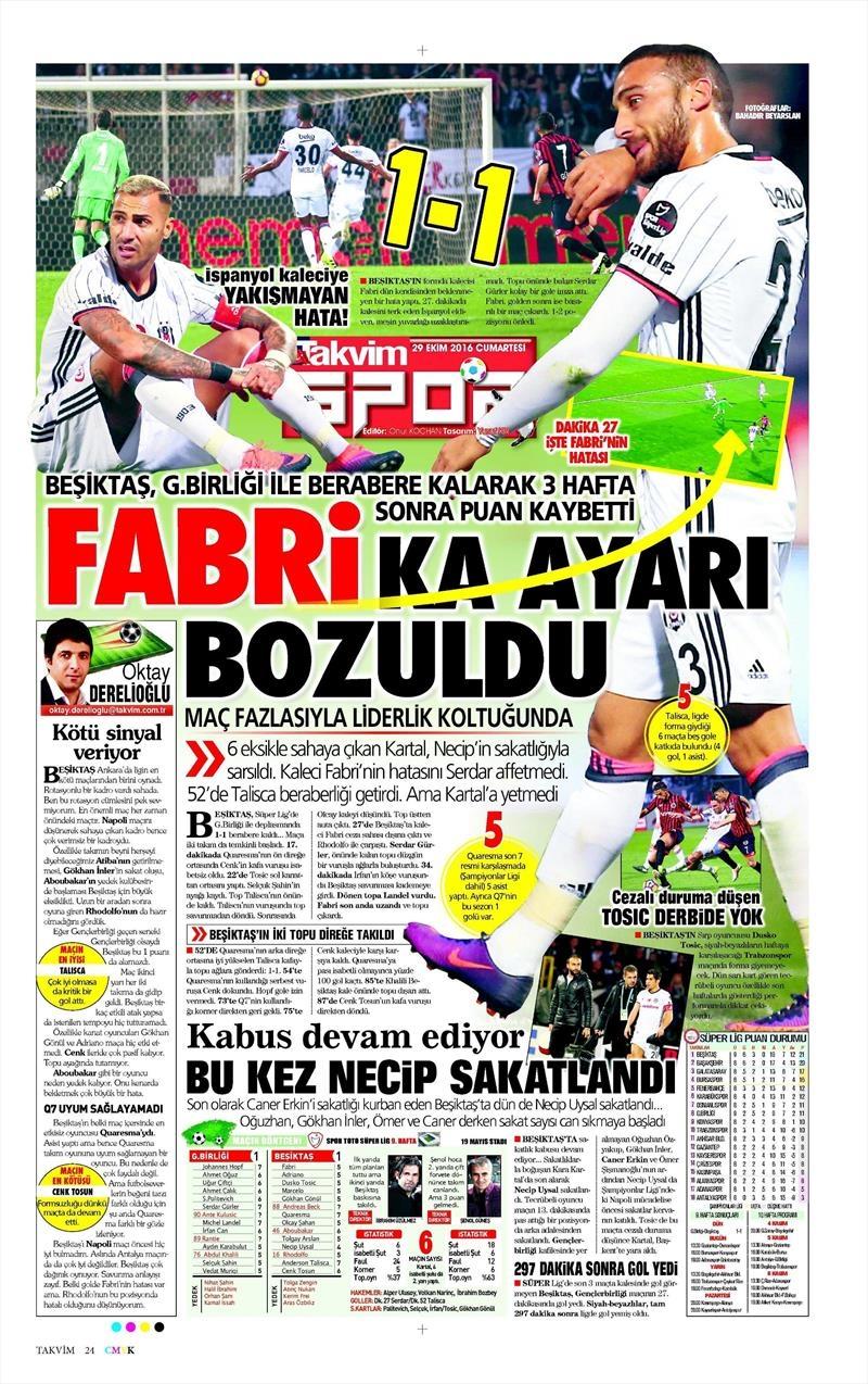 29 Ekim 2016 | Gazetelerin Beşiktaş manşetleri 7