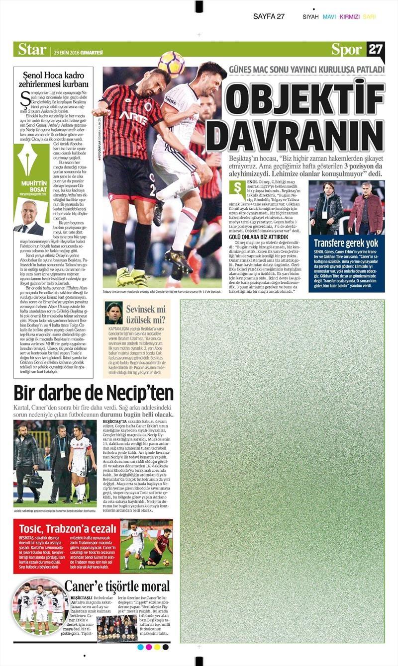 29 Ekim 2016 | Gazetelerin Beşiktaş manşetleri 8