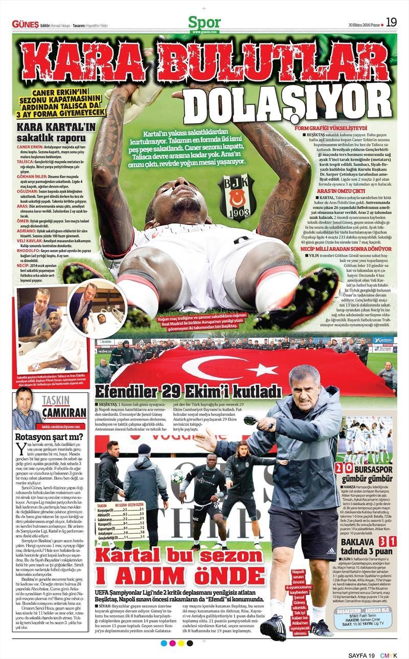 30 Ekim 2016 | Gazetelerin Beşiktaş manşetleri 1