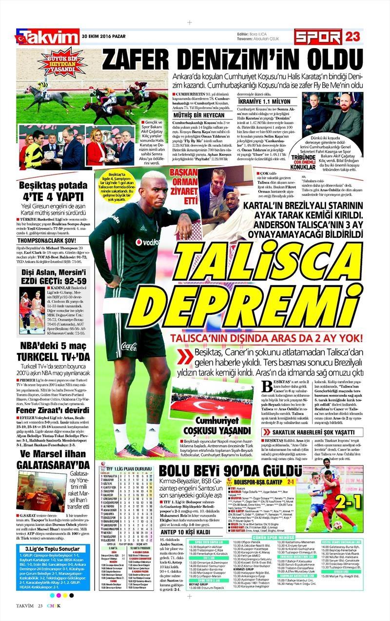 30 Ekim 2016 | Gazetelerin Beşiktaş manşetleri 11