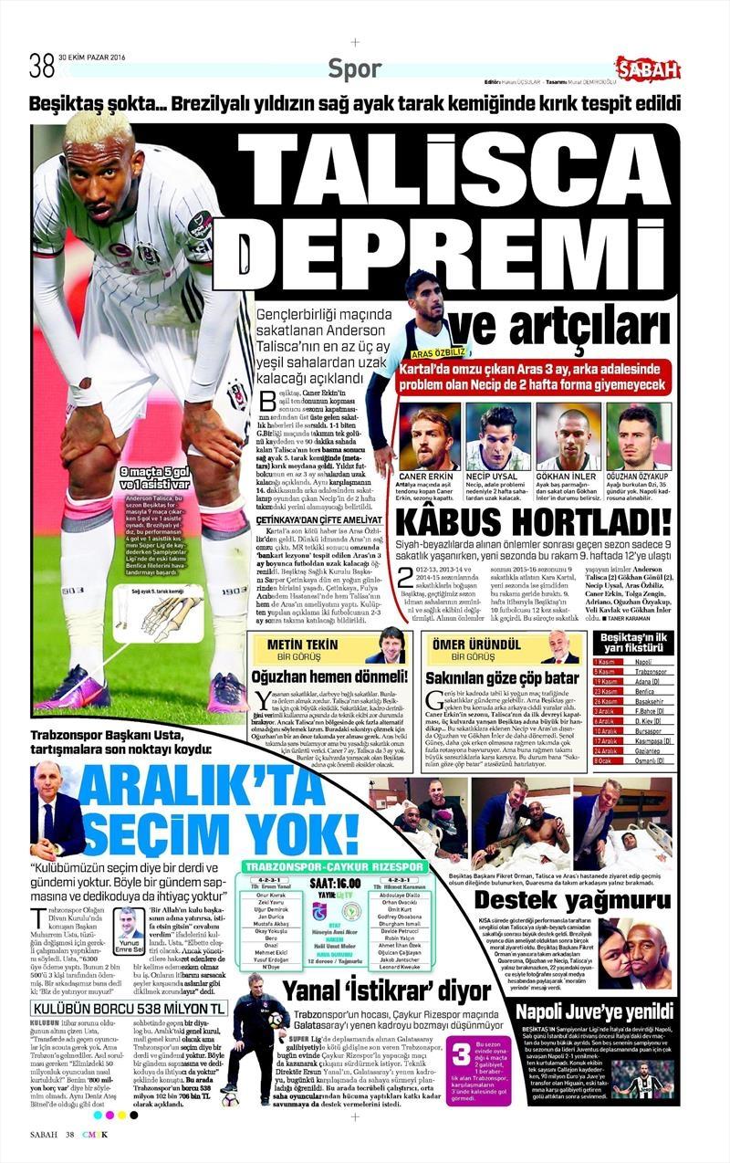 30 Ekim 2016   Gazetelerin Beşiktaş manşetleri 14