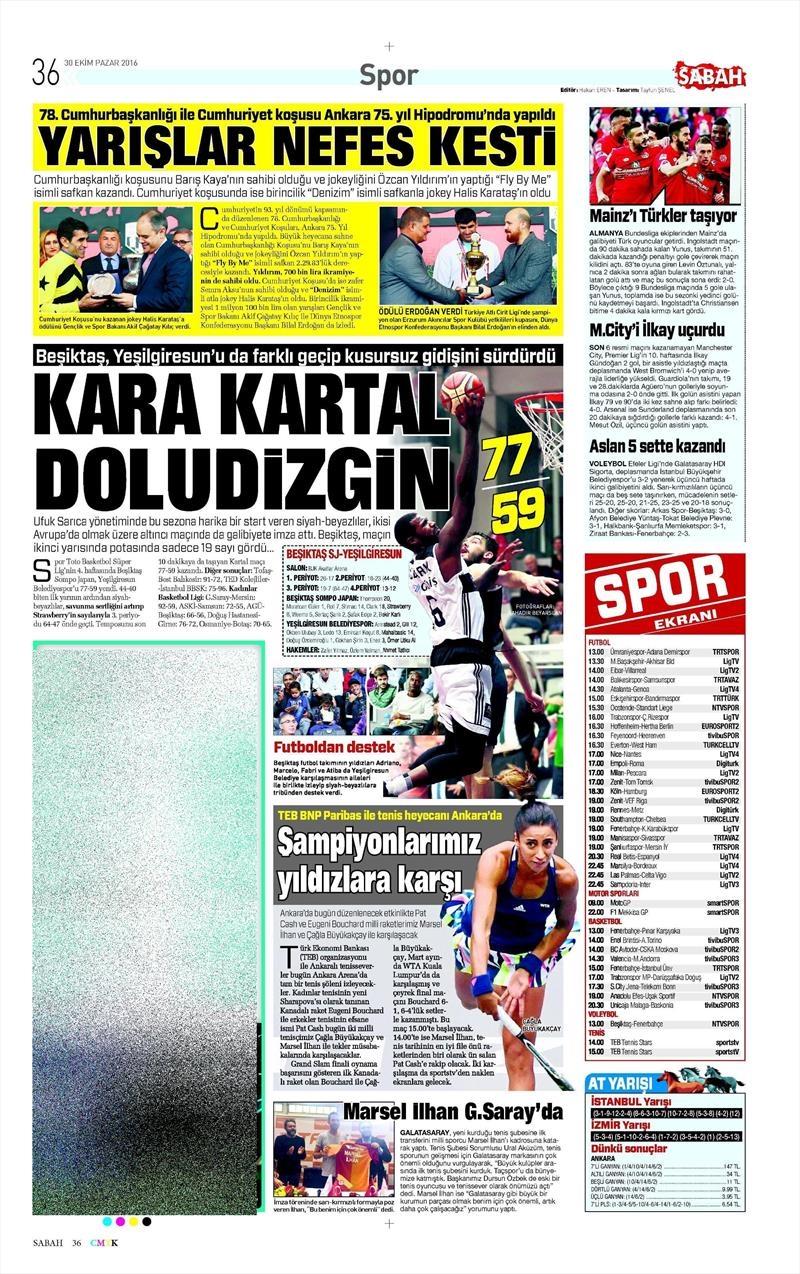 30 Ekim 2016   Gazetelerin Beşiktaş manşetleri 15