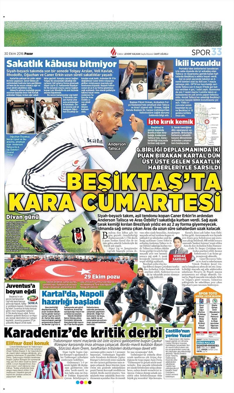 30 Ekim 2016 | Gazetelerin Beşiktaş manşetleri 17