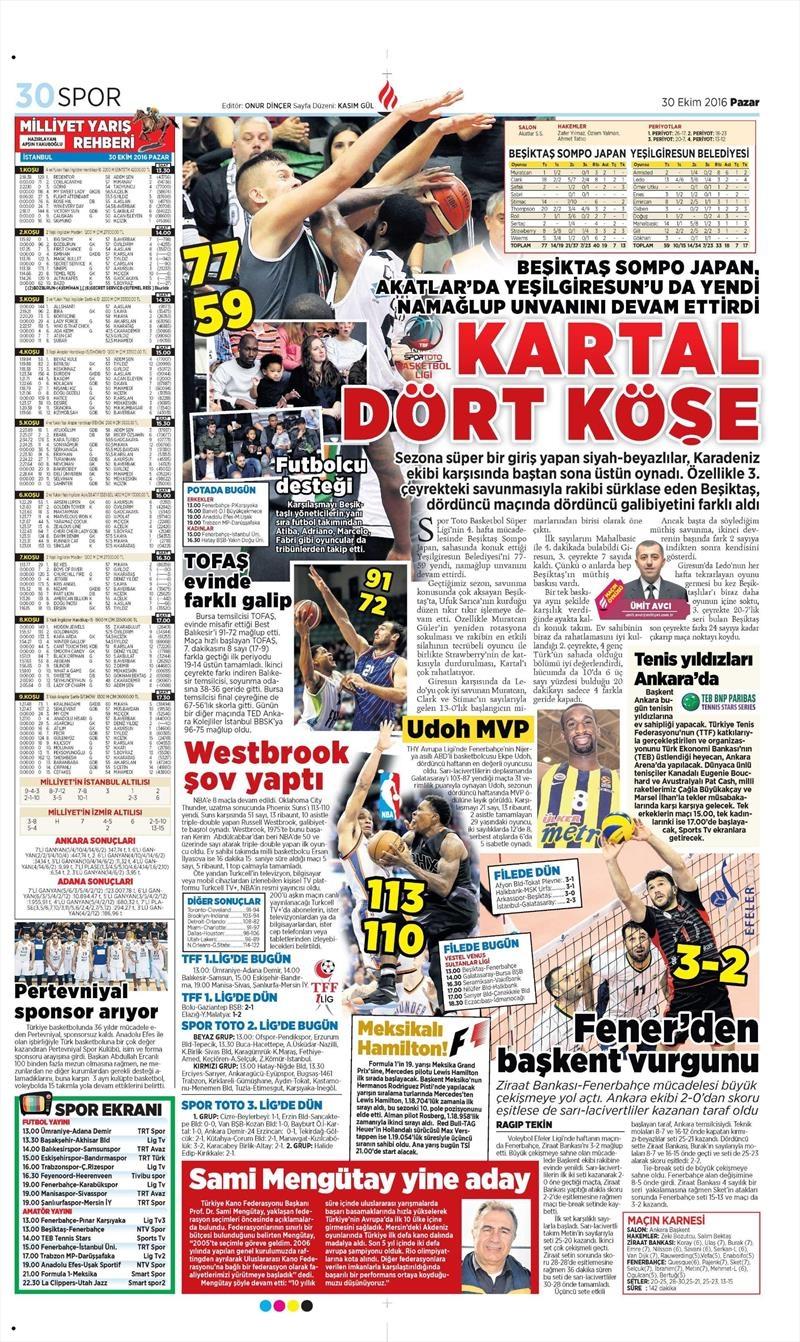 30 Ekim 2016 | Gazetelerin Beşiktaş manşetleri 18