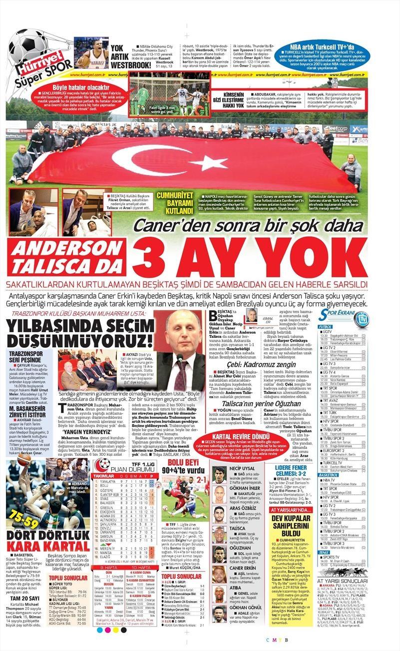 30 Ekim 2016   Gazetelerin Beşiktaş manşetleri 19