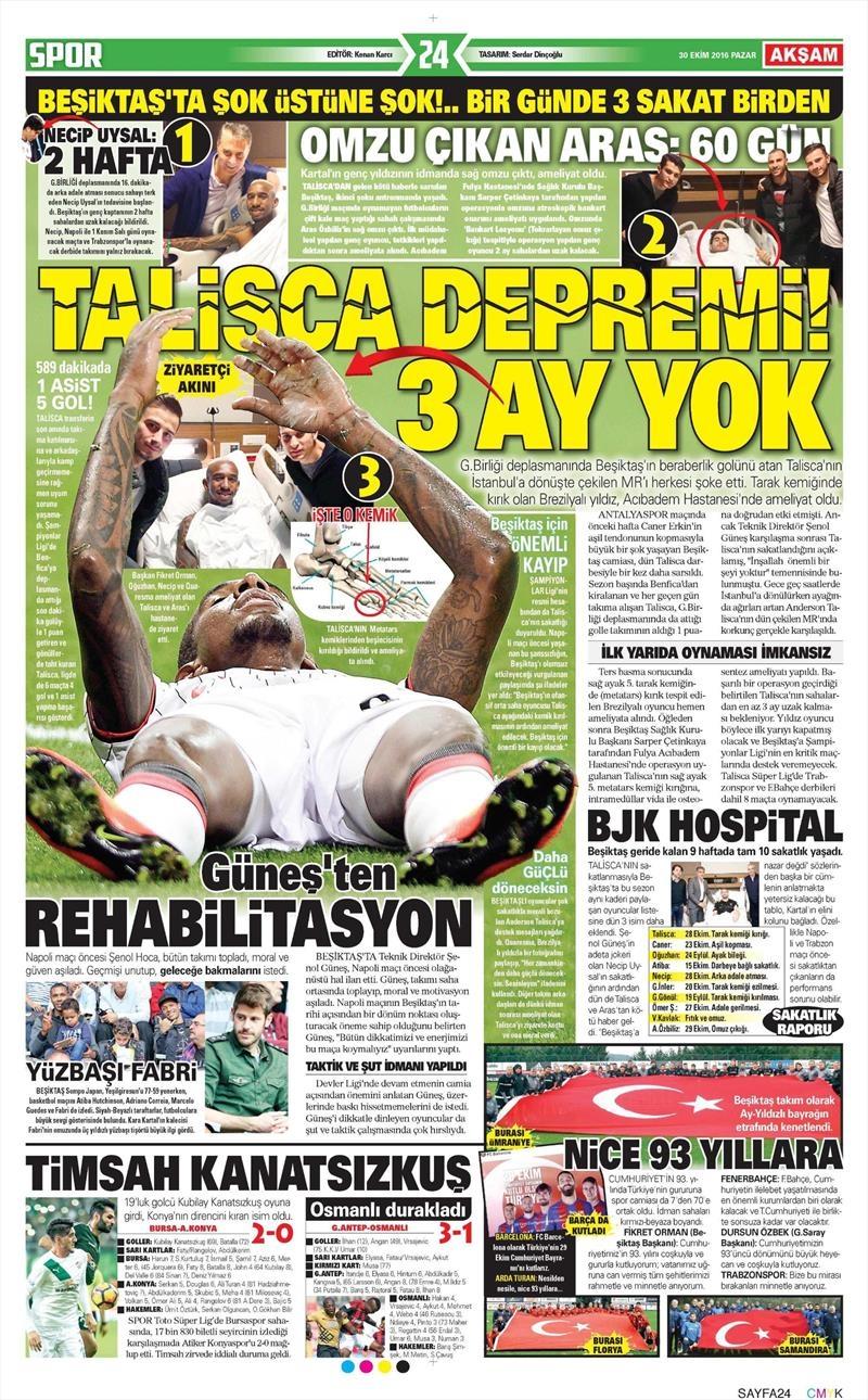 30 Ekim 2016 | Gazetelerin Beşiktaş manşetleri 2
