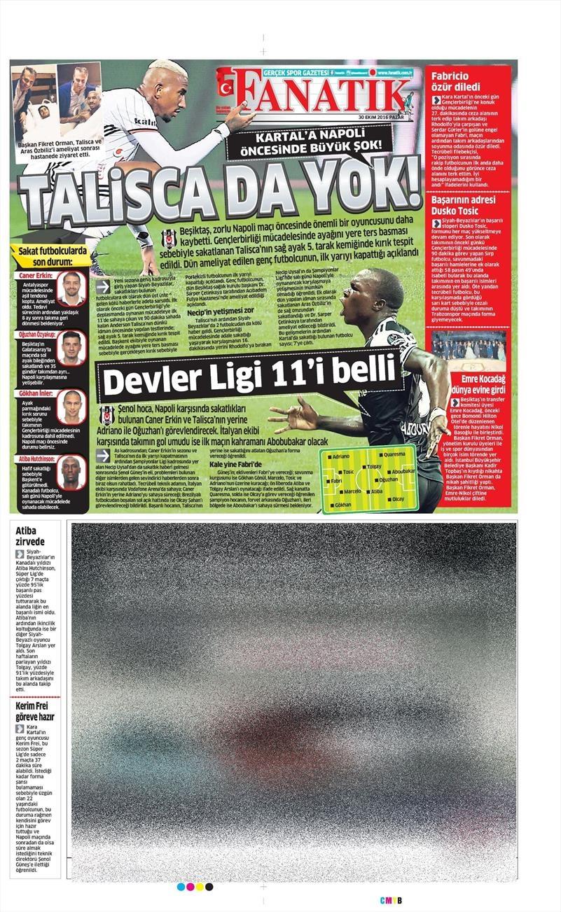 30 Ekim 2016 | Gazetelerin Beşiktaş manşetleri 6