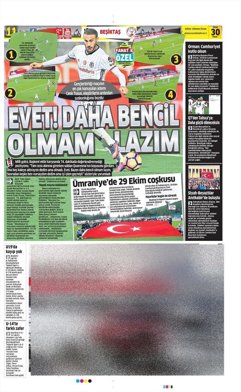 30 Ekim 2016 | Gazetelerin Beşiktaş manşetleri 7
