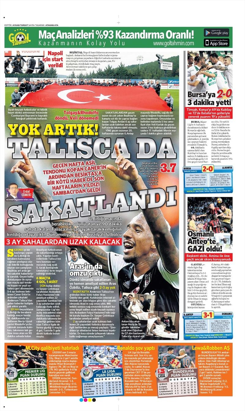 30 Ekim 2016 | Gazetelerin Beşiktaş manşetleri 8