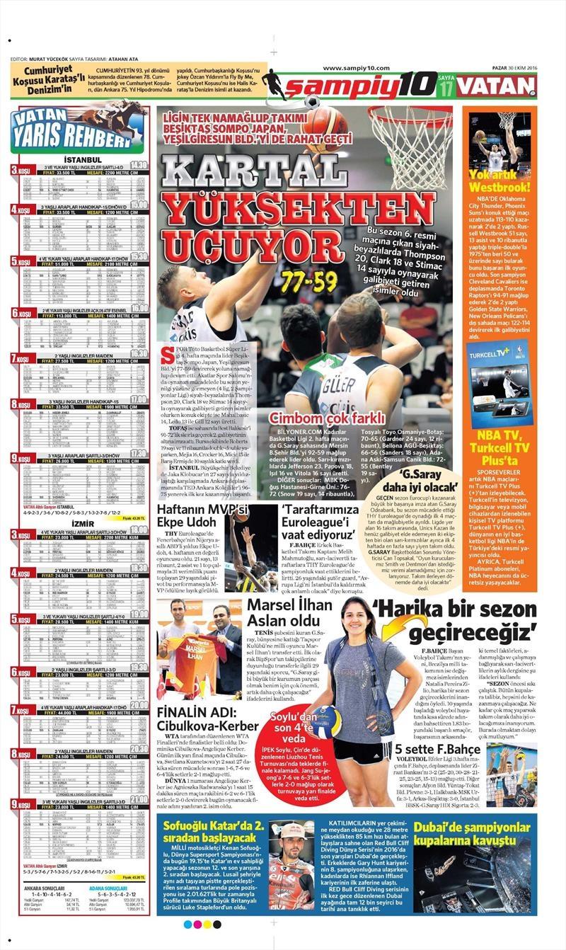 30 Ekim 2016 | Gazetelerin Beşiktaş manşetleri 9