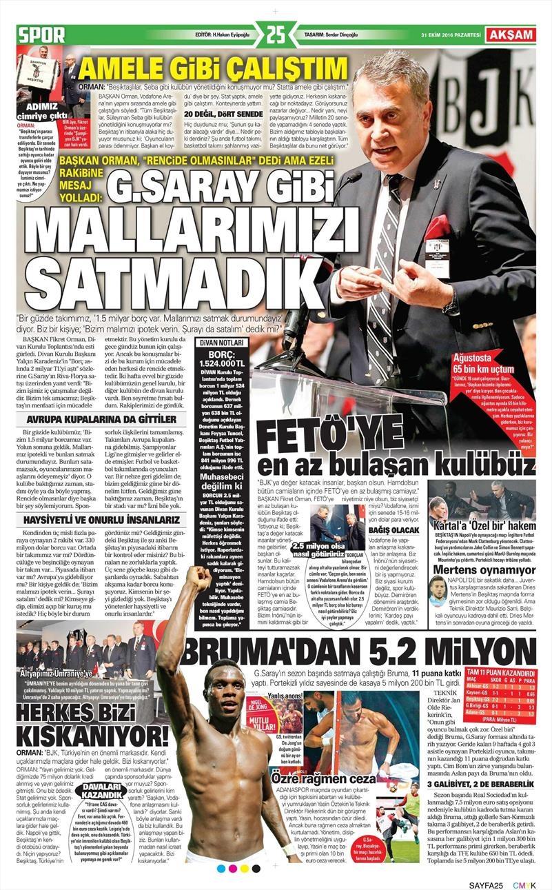 31 Ekim 2016 | Gazetelerin Beşiktaş sayfaları 1