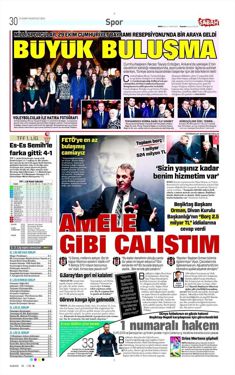 31 Ekim 2016 | Gazetelerin Beşiktaş sayfaları 10