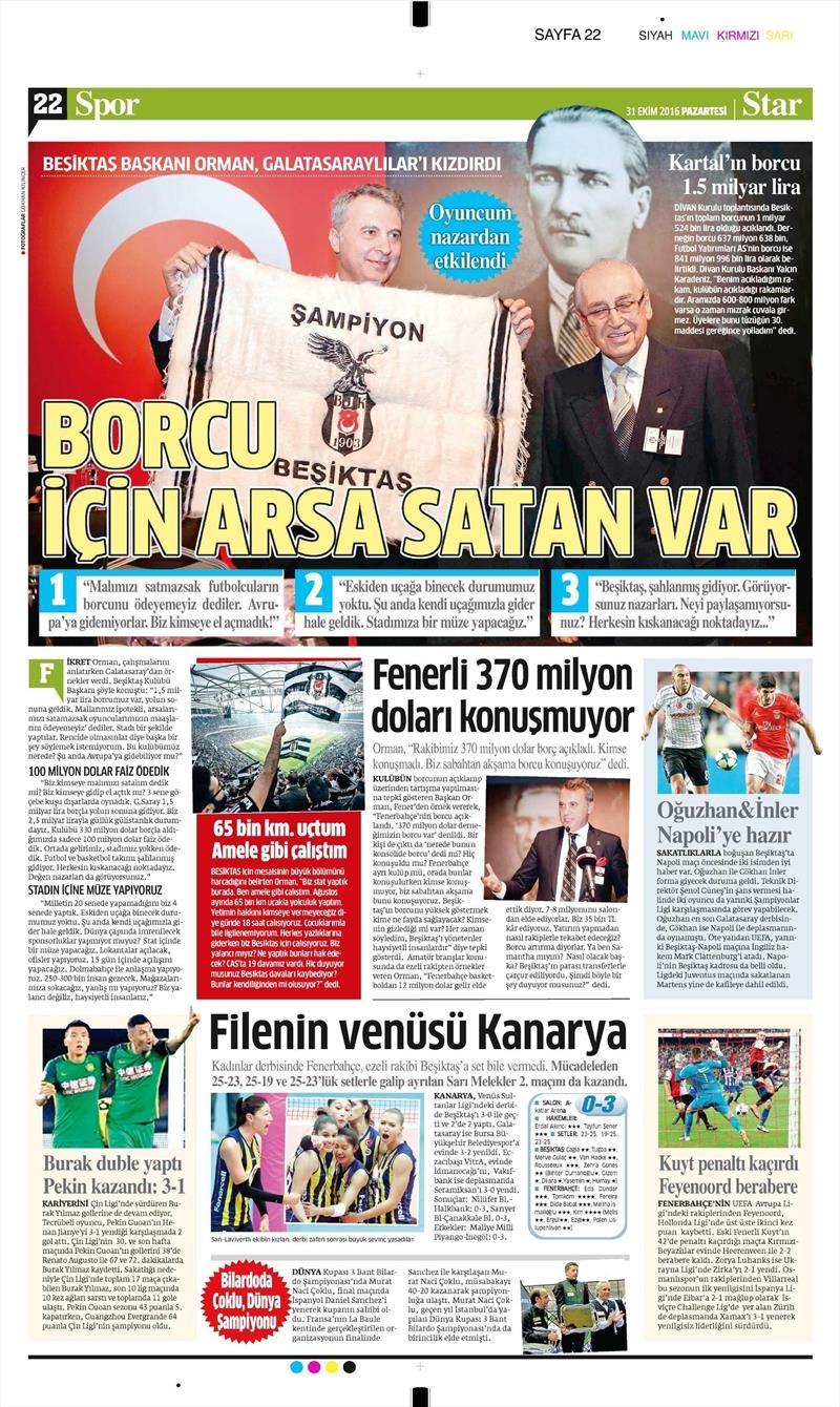 31 Ekim 2016 | Gazetelerin Beşiktaş sayfaları 11