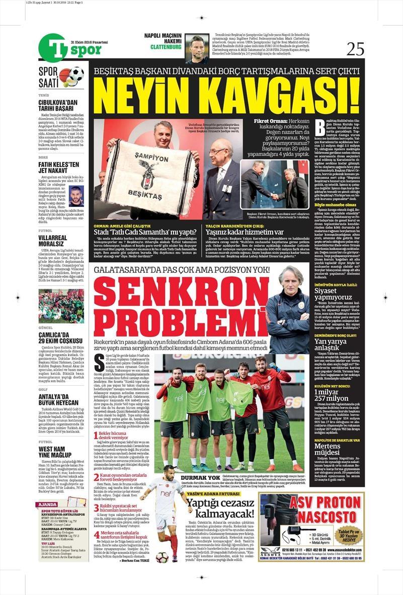 31 Ekim 2016 | Gazetelerin Beşiktaş sayfaları 13