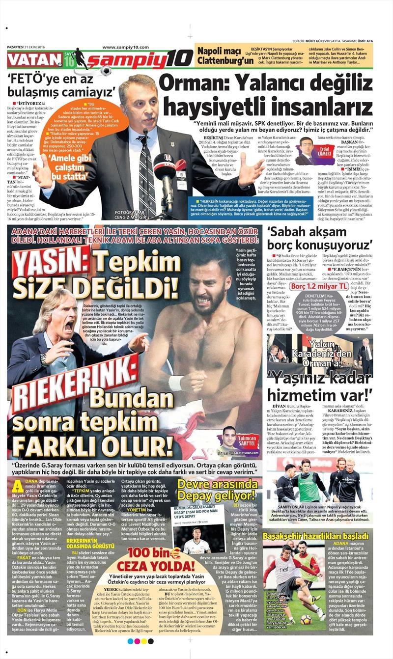 31 Ekim 2016 | Gazetelerin Beşiktaş sayfaları 14