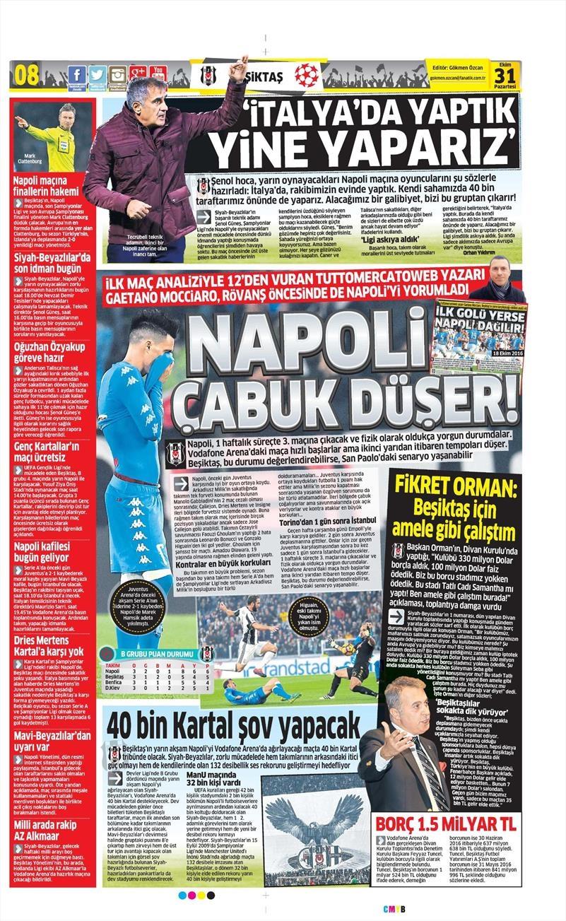 31 Ekim 2016 | Gazetelerin Beşiktaş sayfaları 3